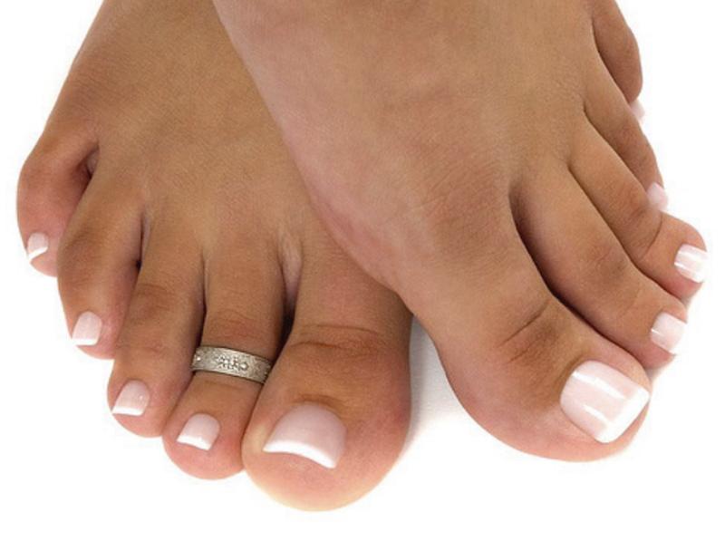 French Manicure Toes With Rhinestones Splendid Wedding Company